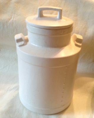 Vtg Ceramic/Porcelain Mcoy? Milk Can Style  Pottery Kitchen Canister White USA