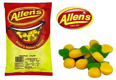 ALLENS PINEAPPLE 1.3kg LOLLIES BULK PARTY FAVOR SWEETS CANDY BUFFET LOLLY FAVOUR
