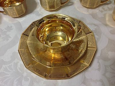 1939-64 Gold Encrust 9ct ea Cups Saucers Dessert Plates By Heinrich&Co; Gorgeous