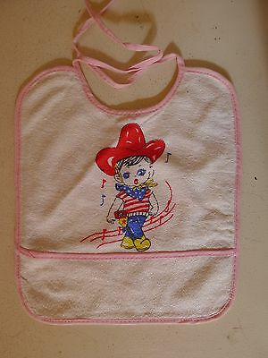 vintage retro true 50s baby bib unused NOS cowboy