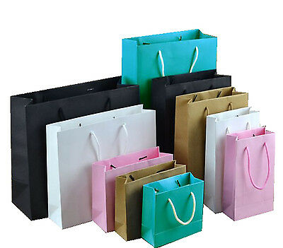 4 Sizes 10PCS With Handles Kraft Gift Bag Party Bags Paper Party Wrapping
