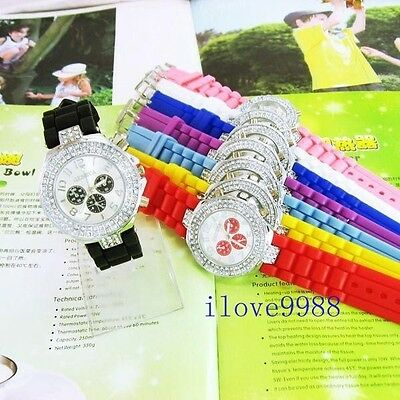 New 8pcs Fashion Crystal lady Girl Silicon wrist Watches 8 colours USX3