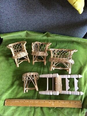 Vintage – 4 piece Wicker Doll Furniture Set – 1960's – I Large Step Chair