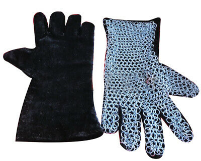 Medieval Armor Chainmail Leather Gauntlet Re-Enactment Costume Gloves a1