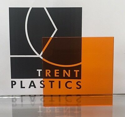 Amber Orange Tinted Perspex Acrylic Plastic Sheet Cut to Size Tint Cast Coloured