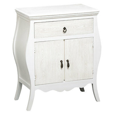 Natural White Mdf Shabby Chic Cabinet/Sideboard Single Drawer Double Door-Living