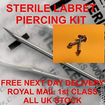 STERILE LABRET/LIP  PIERCING KIT *** FREE 1St Class Post***