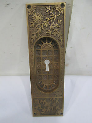 Antique Eastlake Style Brass Recessed Pocket Door Handle #3