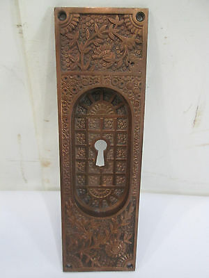 Antique Eastlake Style Brass Recessed Pocket Door Handle #1