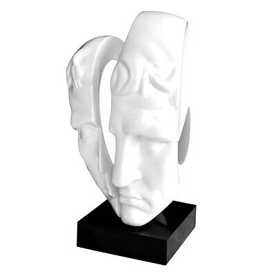 High Gloss White Polyresin Split Face Black Stand Sculpture Ornament