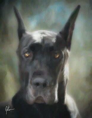 "Great Dane Dog, Black, GEP Signed 11"" x 14"" Art Print / Painting / Watercolor"