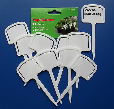 "White Plastic Plant T Tee Labels, 5"" 12.5cm pack of 10 by Supagarden SGS30"