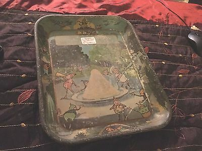ANTIQUE  BROWNIES METAL TIN LITHO ICE CREAM SERVING TRAY wow rare