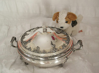 ANTIQUE SILVER PLATED VICTORIAN ORNATE TUREEN SERVING DISH Barbour's Silver Co