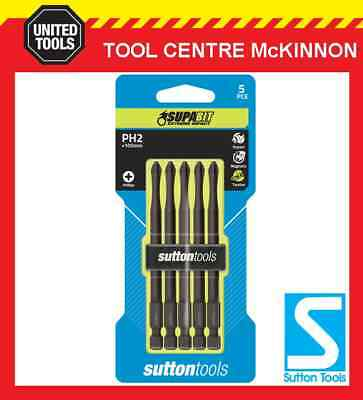 5 x SUTTON IMPACT PHILLIPS HEAD PH2 x 100mm POWER INSERT BITS FOR IMPACT DRIVERS