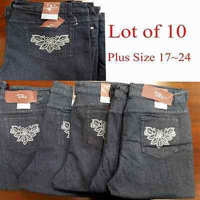 Lot of 10 Women Capri Jeans Pants Plus Size Dark Blue Denim Wholesale Mix 17~24