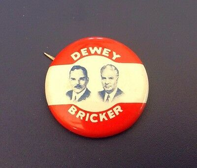 1944 Dewey Bricker Political Presidential Candidate Republican Party Pin (J14)