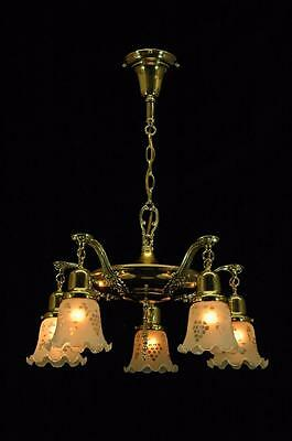 Antique 1900's Early Electric Restored Polished Brass 5 Arm Pan Fixture