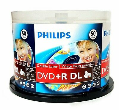 50 PHILIPS 8X Blank DVD+R DL Dual Double Layer 8.5GB White Inkjet Printable