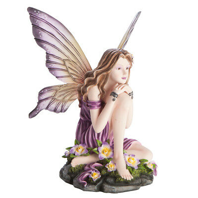 Large Purple Fairy in Sitting Pose Collectable Figurine Statue Fantasy Angel