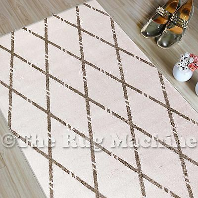 CHICAGO CREAM BEIGE TRIBAL DIAMOND DESIGN MODERN FLOOR RUG RUNNER 80x300cm **NEW