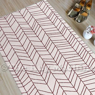 CHICAGO CREAM RED TRIBAL ARROWS DESIGN MODERN FLOOR RUG RUNNER 80x300cm **NEW**