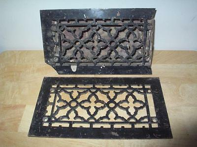 ANTIQUE TUTTLE & BAILEY CAST IRON FLOOR WALL HEAT RETURN VENT w/ FACE PLATE 8x4