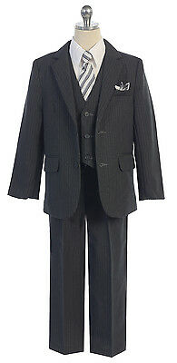 Boy's 5 Piece Pinstripe Formal Suit Tuxedo 2 Button Jacket w/Vest Sizes 2T-14