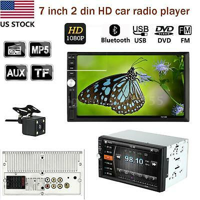 """7"""" HD 2 Din Car Radio MP5 Player Bluetooth with Rear View Camera Universal S7J6"""