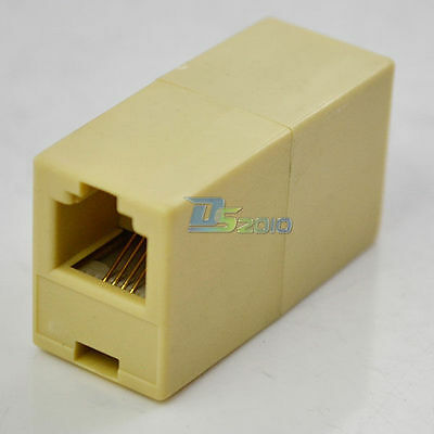 Telephone Phone Line Cord Cable Coupler Connector Socket Plastic RJ-11 Adapter