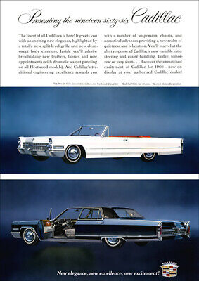 1966 Cadillac Fleetwood Brougham & Convertible Retro A3 Poster Print From Advert