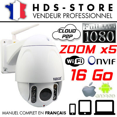 Camera Dome Ip Wanscam Hw0045 Zoom X5 Exterieur Hd 1080P Wifi Micro Sd Onvif