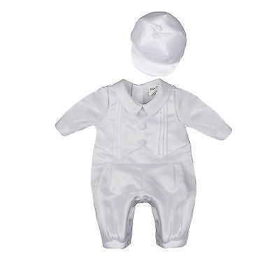NEW Baby Boys Newborn White Satin Christening Baptism Romper Suit SET With Hat