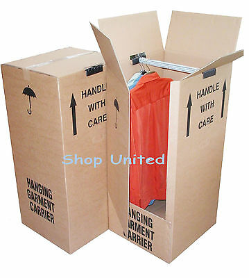 3 x STRONG EXTRA LARGE WARDROBE REMOVAL MOVING CARTONS BOXES WITH HANGING RAILS