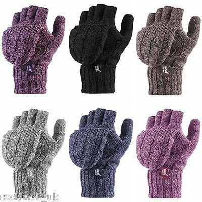 Heat Holders - Women's Thermal 2.3 TOG Converter Fingerless Cable Knit Gloves
