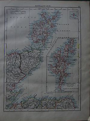 1900 Victorian Map ~ Scotland North East Shetland Orkney Islands Caithness
