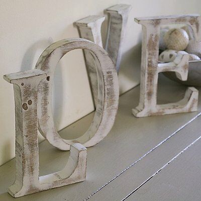 Shabby Chic Letters Initials Handmade in Bali Mango Wood 15 cm Spell Your Name
