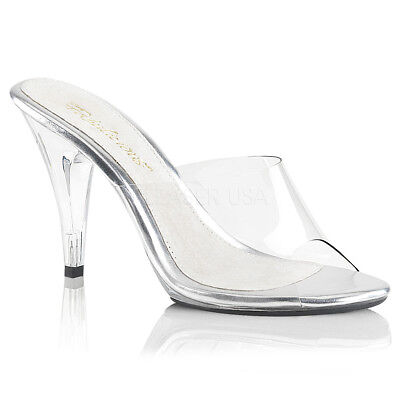 c052a96c165 Fabulicious CARESS-401 Shoes Clear Slide Slip On Opne Toe High Heel Sandals