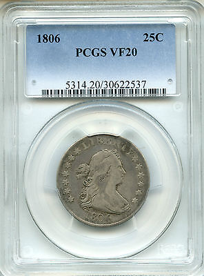 1806 Draped Bust Quarter Dollar PCGS VF20 ~ 25c (30622537)