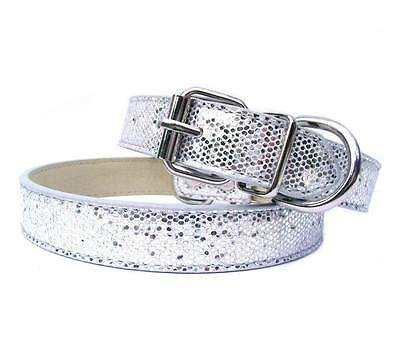 New Silver Luxury Sparkling Glitters Dog Collar PU Leather Bling Cat Pet Large