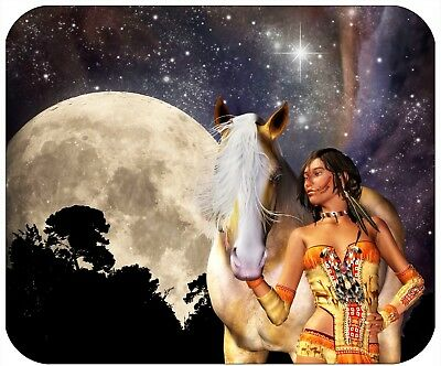 Mouse Pad Custom Personalized Thick Mousepad-Indian Woman With Moon-Add Any Text