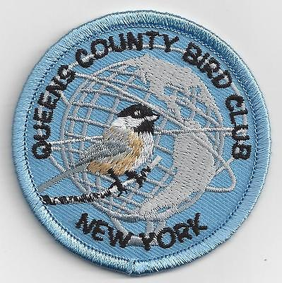Queens County Bird Club patch - NYC New York City Unisphere, iron-on, 2.5""