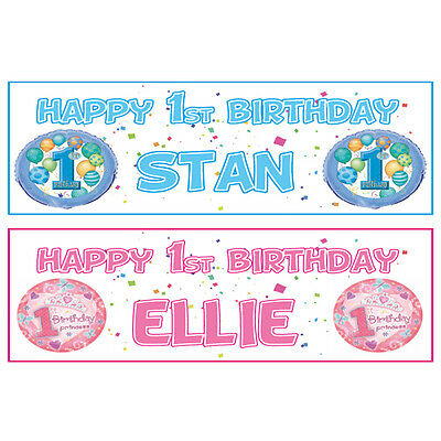 2 PERSONALISED HAPPY 1st BIRTHDAY BANNERS - BOY OR GIRL - BLUE OR PINK