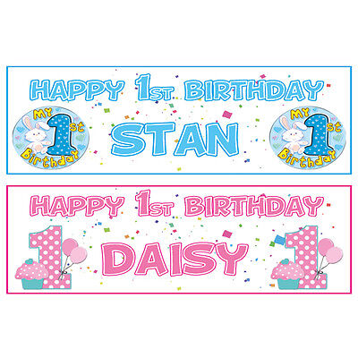 2 PERSONALISED HAPPY 1st BIRTHDAY BANNERS - PINK OR BLUE - FIRST