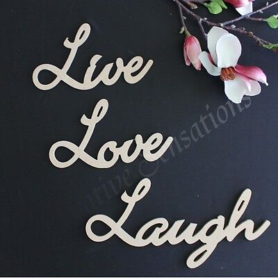 Medium Wooden Words LIVE LOVE LAUGH Wall Home Decor Wedding Raw MDF Letter Word