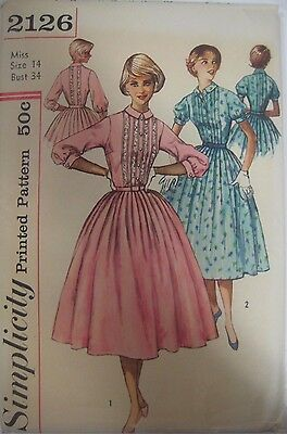 Vtg 1950's Simplicity 2126 TUCKED FRONT BODICE DRESS Sewing Pattern Women UNCUT