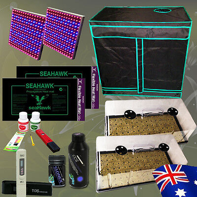 Hydroponics Grow Tent Cloning LED Grow Light Dome Heat Mat PH Meter Nutrients