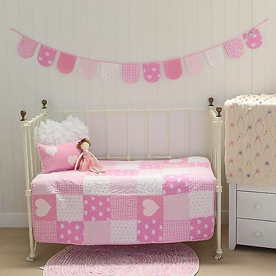 3 pce Lucy Pink Patchwork Cotton Baby Girls Nursery Cot Quilt & Cushion Bunting
