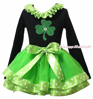 St Patrick Day Clover Black Top Green Dot Girl Satin Trim Skirt Outfit Set NB-8Y