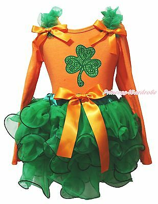 St Patrick Day Orange Top Clover Green Girl Petal Skirt Clothing Outfit NB-8Year